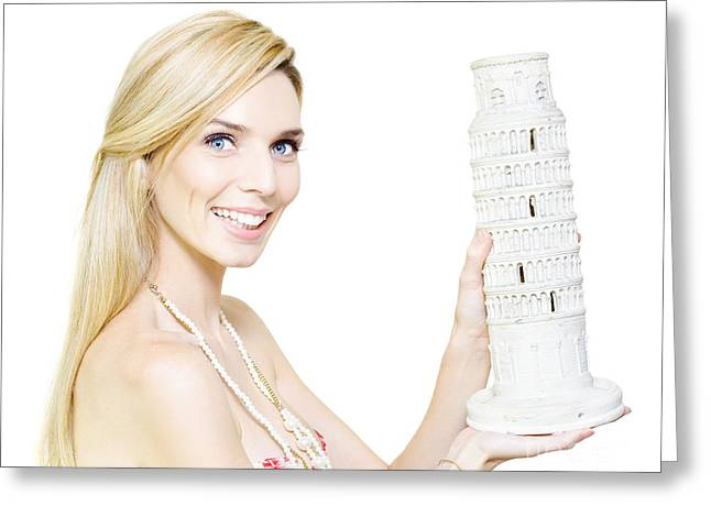 Woman Holding The Leaning Tower Of Pisa Greeting Card