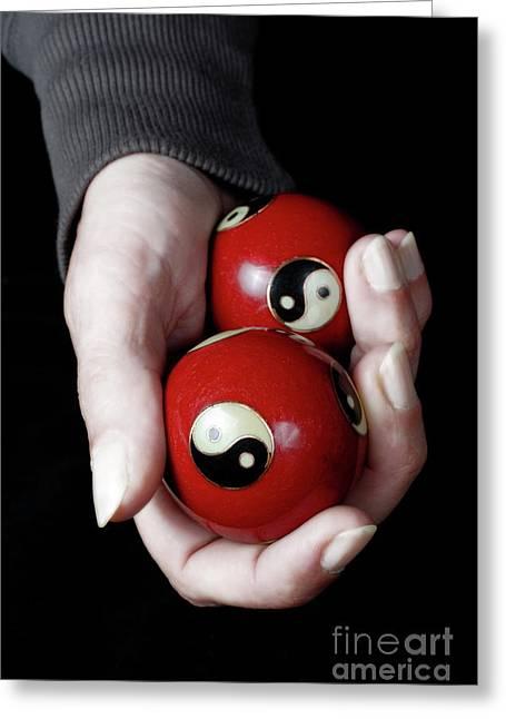 Woman Holding Yin Yang Balls In Hand Greeting Card by Sami Sarkis