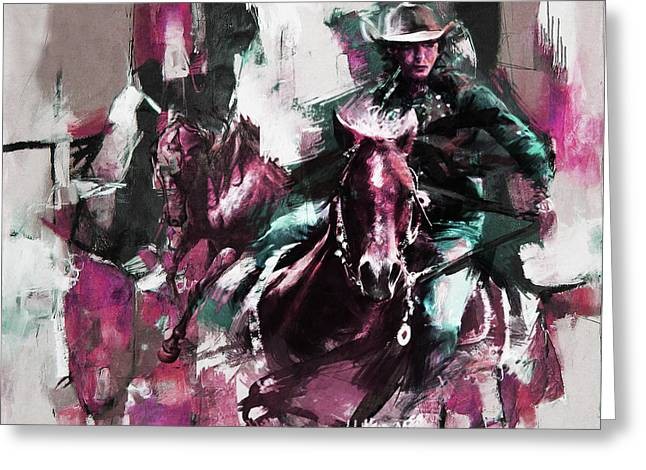 Woman Horse Riding  Greeting Card by Gull G