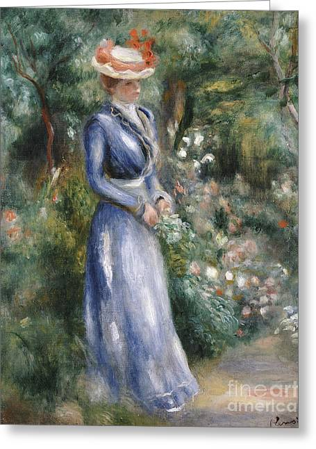 Fold Greeting Cards - Woman in a Blue Dress Standing in the Garden at Saint-Cloud Greeting Card by Pierre Auguste Renoir