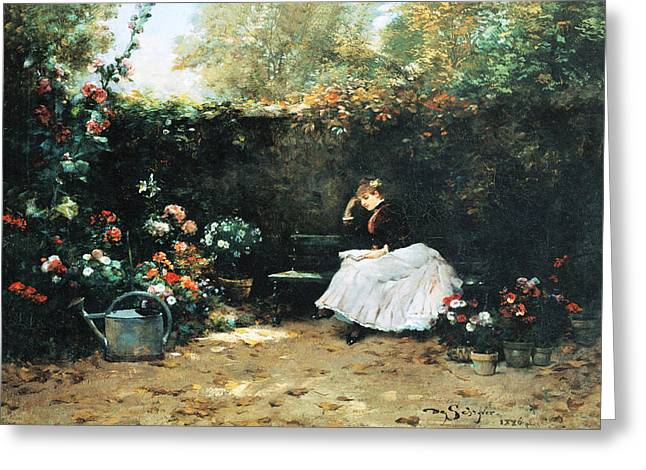 Woman In A Garden Greeting Card by Louis Marie De Schryver