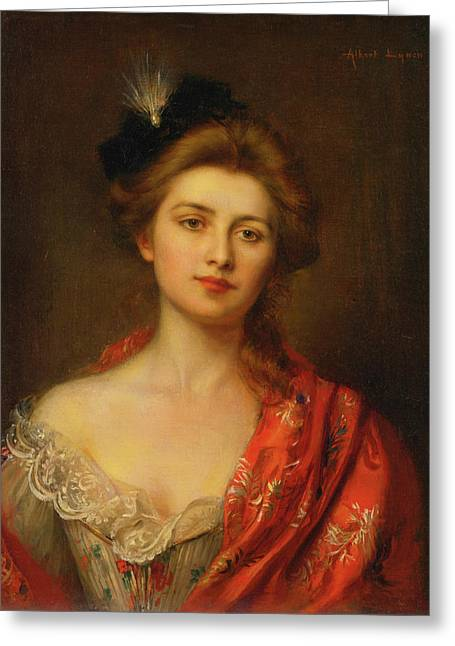 Woman In A Red Embroidered Shawl Greeting Card by Albert Lynch