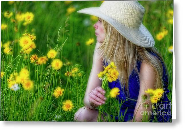 Woman In A Spring Meadow Greeting Card