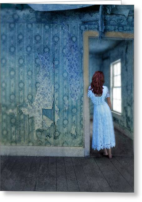 Lace Dress Greeting Cards - Woman in Abandoned House Greeting Card by Jill Battaglia