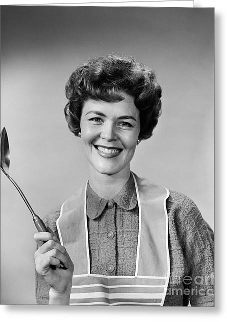 Woman In Apron Smiling, C.1950s-60s Greeting Card by H. Armstrong Roberts/ClassicStock