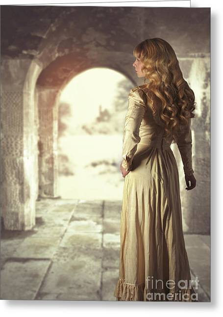 Woman In Archway Greeting Card by Amanda Elwell