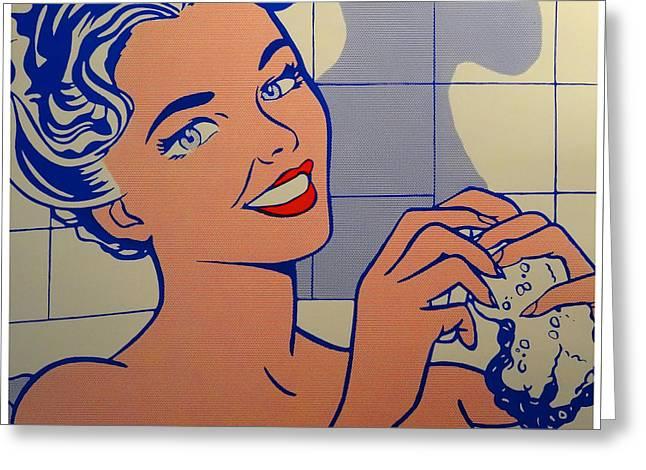 Woman In Bath Greeting Card by Roy Lichtenstein