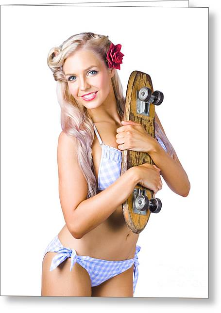 Woman In Bikini Holding Skateboard Greeting Card by Jorgo Photography - Wall Art Gallery