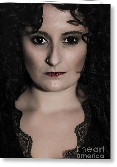 Woman In Black Greeting Card by Amanda Elwell