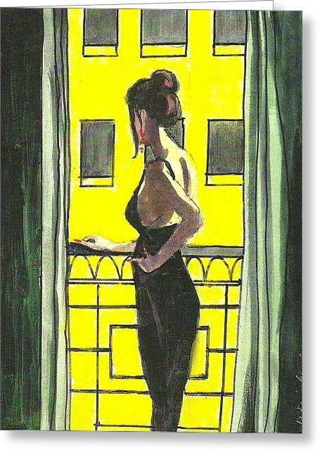 Woman In Black Dress On Balcony Greeting Card by Harry  Weisburd
