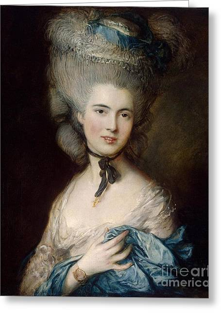 Woman In Blue The Duchess Of Beaufort Greeting Card by MotionAge Designs