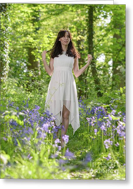 Woman In Bluebell Woodland Greeting Card by Amanda Elwell