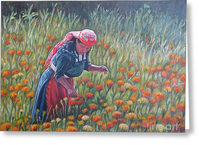 Woman In Field Of Cempazuchitl Flowers Greeting Card by Judith Zur