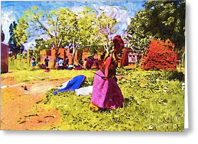 Woman In Fields Of Ghana Greeting Card