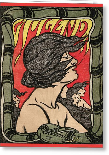Woman In Flames Jugend Magazine Cover Greeting Card by Jugend Magazine