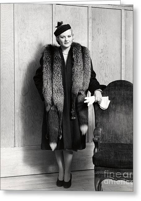 Woman In Fox Fur Stole, C.1930s Greeting Card by H. Armstrong Roberts/ClassicStock