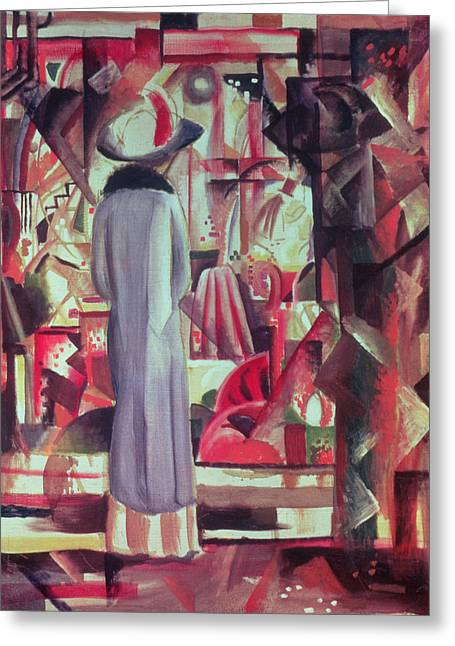 Woman In Front Of A Large Illuminated Window Greeting Card