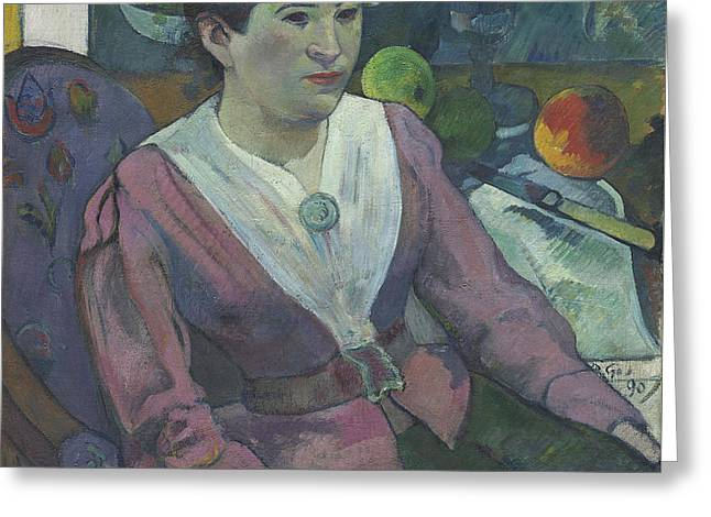 Woman In Front Of A Still Life By Cezanne Greeting Card by Paul Gauguin