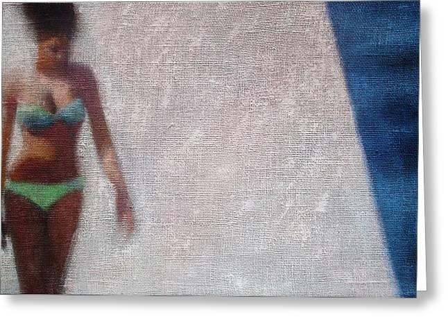 Woman In Green Bikini Greeting Card by Geoff Greene