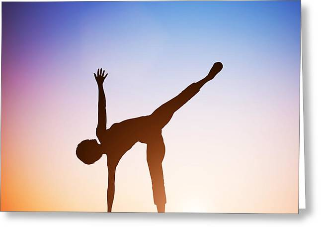 Woman In Half Moon Yoga Pose Meditating At Sunset Greeting Card by Michal Bednarek