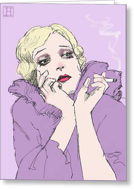 Woman In Lavender Greeting Card by H James Hoff