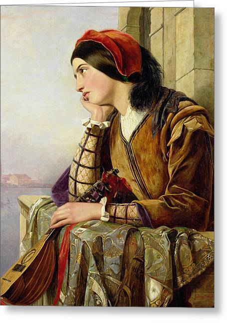 Lute Greeting Cards - Woman in Love Greeting Card by Henry Nelson O Neil
