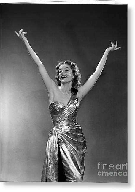 Woman In Metallic Dress, C.1950s Greeting Card