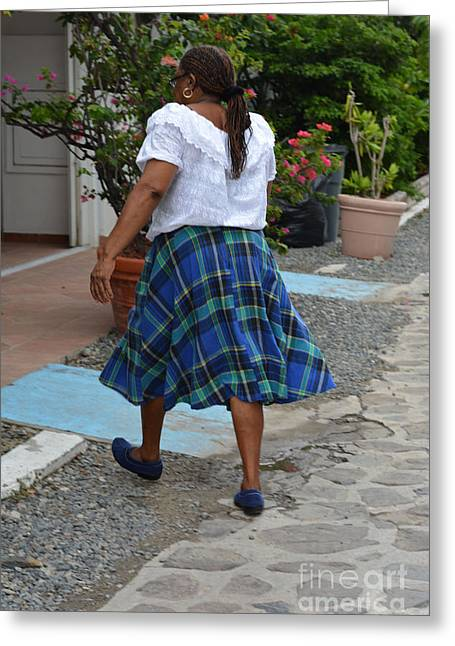 Woman In Plaid Skirt Greeting Card by Andrea Simon