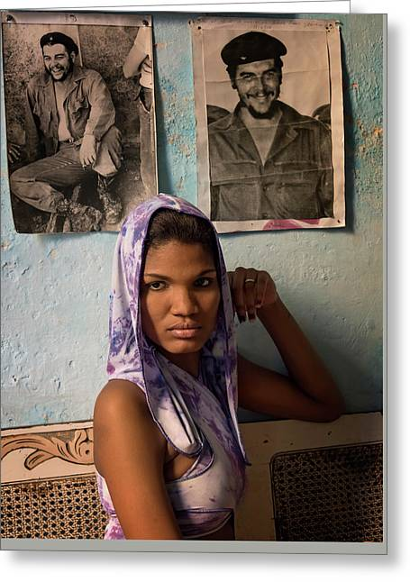 Woman In Purple Havana Cuba Greeting Card