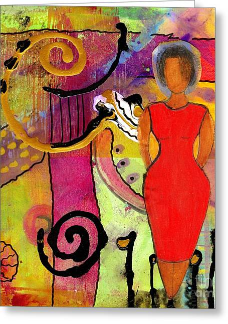 Woman In Red Greeting Card by Angela L Walker