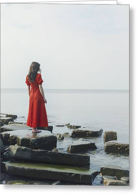 Woman In Red Dress Greeting Card by Joana Kruse
