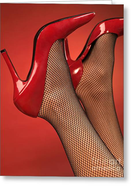 Woman In Red High Heel Shoes Greeting Card by Oleksiy Maksymenko