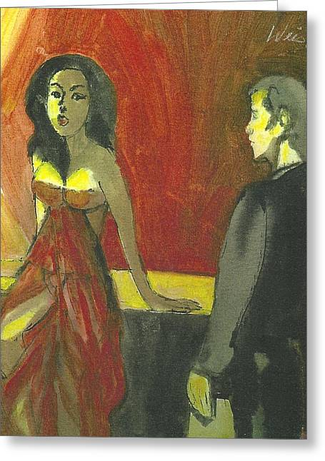Woman In Red Lingerie   Happy Greeting Card by Harry  Weisburd