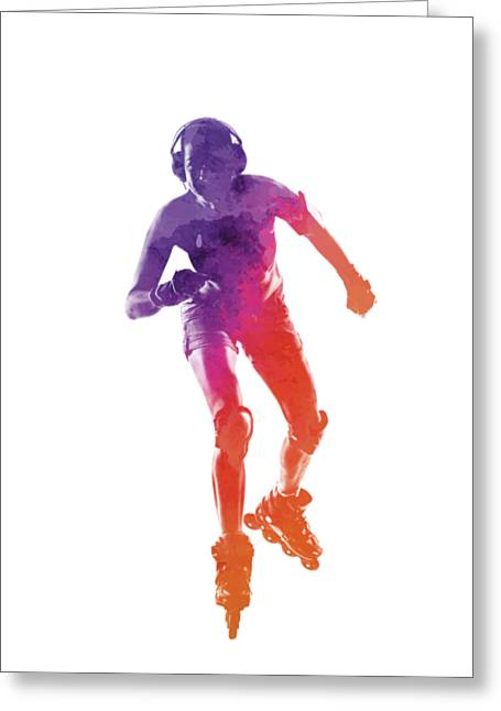 Woman In Roller Skates 01 In Watercolor Greeting Card by Pablo Romero