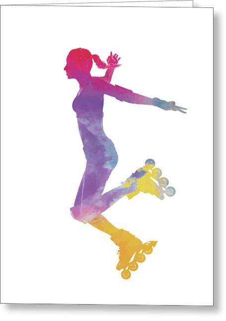Woman In Roller Skates 03 In Watercolor Greeting Card by Pablo Romero