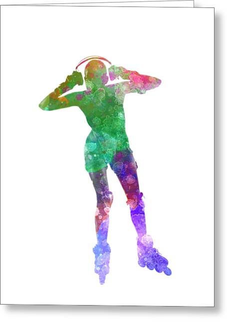 Woman In Roller Skates 04 In Watercolor Greeting Card by Pablo Romero