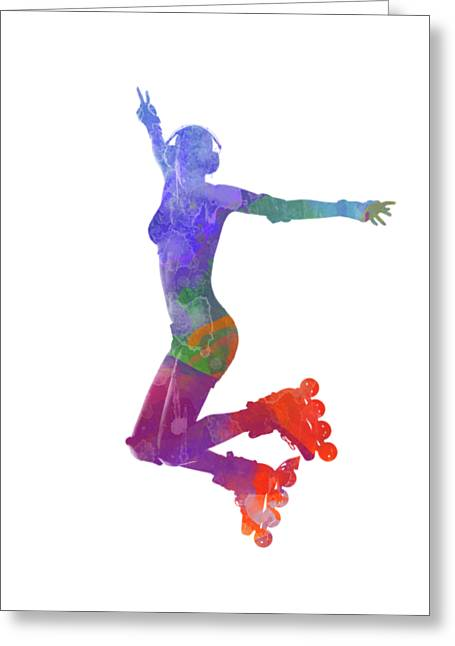 Woman In Roller Skates 05 In Watercolor Greeting Card by Pablo Romero