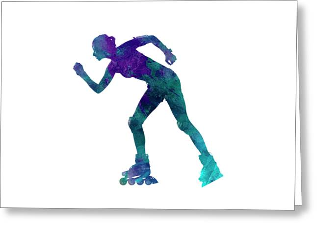 Woman In Roller Skates 06 In Watercolor Greeting Card by Pablo Romero