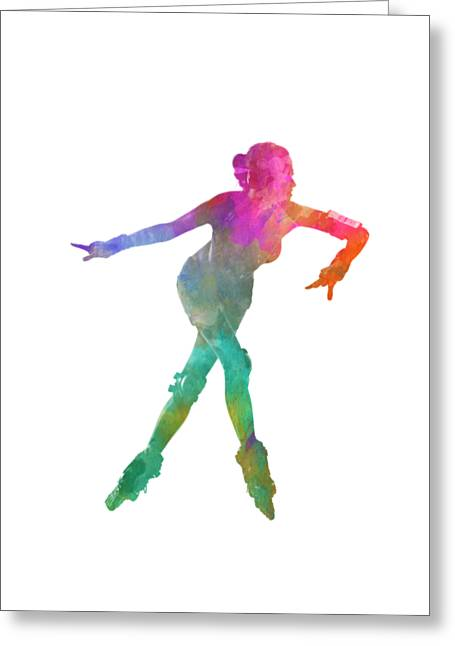 Woman In Roller Skates 08 In Watercolor Greeting Card by Pablo Romero