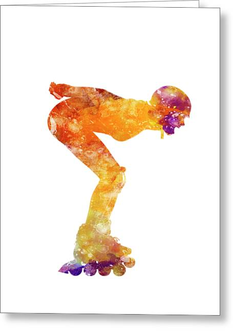 Woman In Roller Skates 09 In Watercolor Greeting Card by Pablo Romero