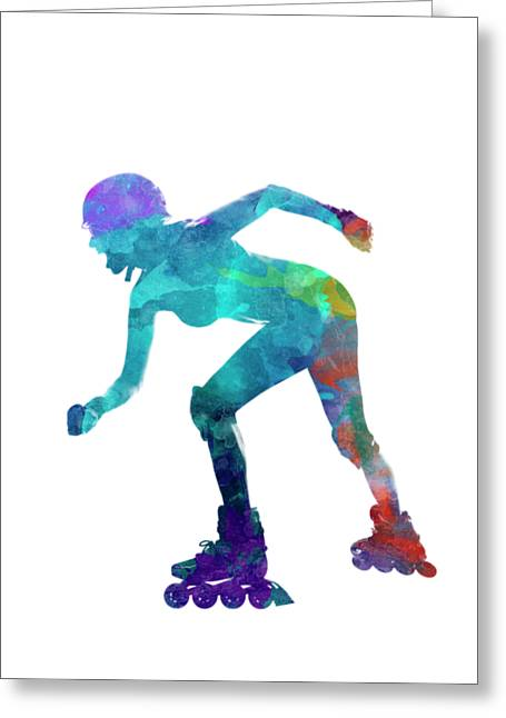 Woman In Roller Skates 10 In Watercolor Greeting Card by Pablo Romero