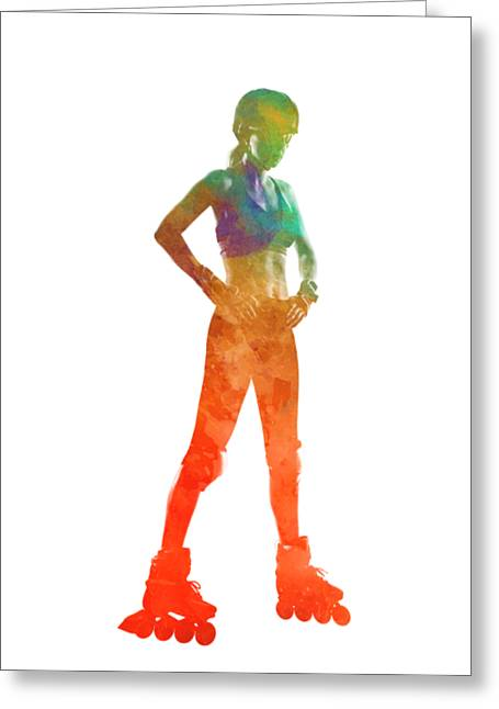 Woman In Roller Skates 11 In Watercolor Greeting Card by Pablo Romero