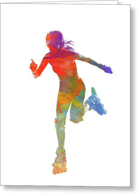 Woman In Roller Skates 12 In Watercolor Greeting Card by Pablo Romero