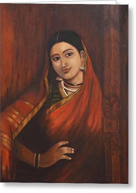 Woman In Saree - After Raja Ravi Varma Greeting Card