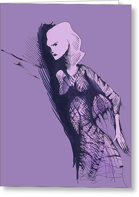 Greeting Card featuring the drawing Woman In Shadows by Keith A Link