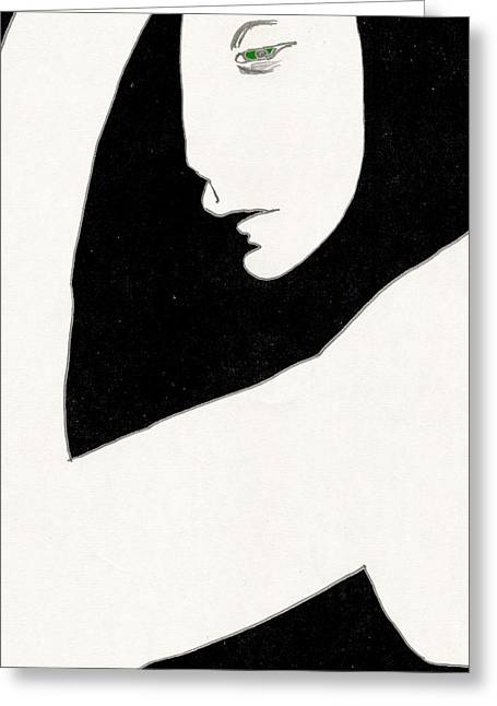 Woman In Shadows Greeting Card
