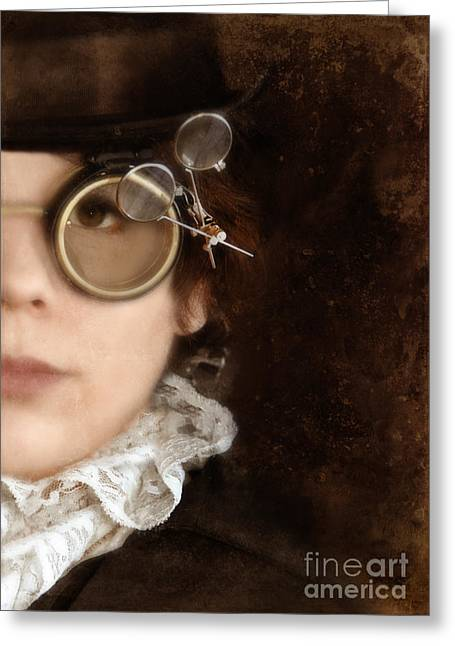 Woman In Steampunk Clothing  Greeting Card by Jill Battaglia