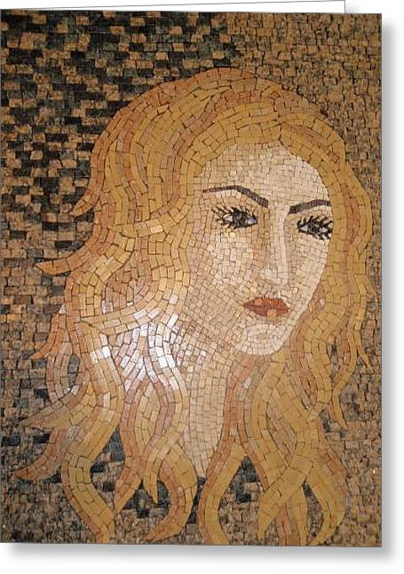 Mosaic Reliefs Greeting Cards - Woman In Stone Mosaic Greeting Card by Petrit Metohu
