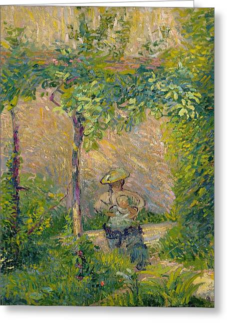 Woman In The Garden Greeting Card by Hippolyte Petitjean