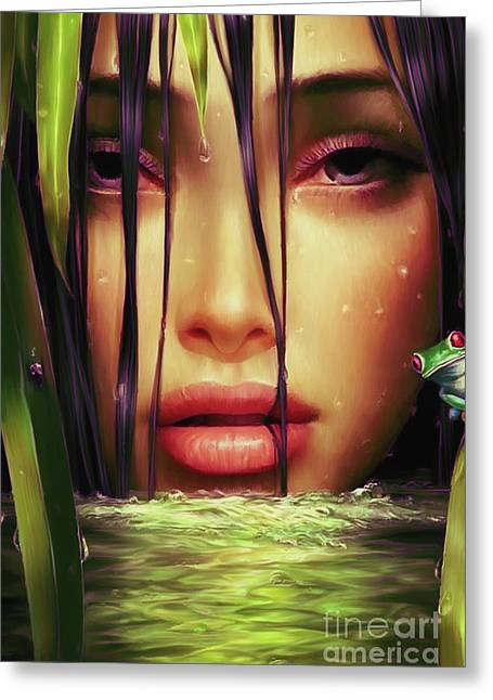 Woman In The Lake  Greeting Card